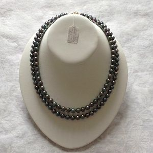 Jewelry - Pearl Necklace, Double Strand, Black, AAA Grade